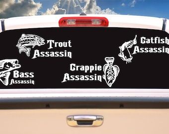 fish assassin decals, fly fishing,fishing,fish,funny car decal,decals,gift for men,gifts for him,laptop stickers,stickers,vinyl decal