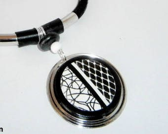 black and white polymer clay round pendant