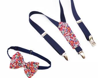 f157409dd4cb Bretelles et nœud papillon bleu nuit et Liberty Betsy Ann rouge fleurs