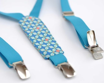 Elastic fabric and turquoise blue child suspenders with geometric patterns