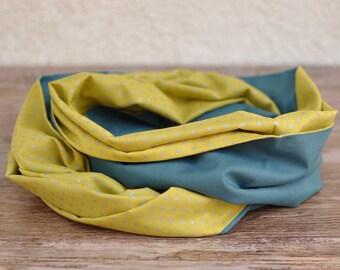 Teal and yellow banana Snood for boy or girl