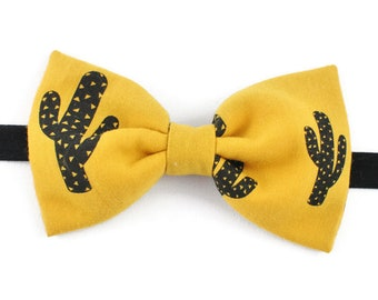 Bow tie yellow mustard and black cactus