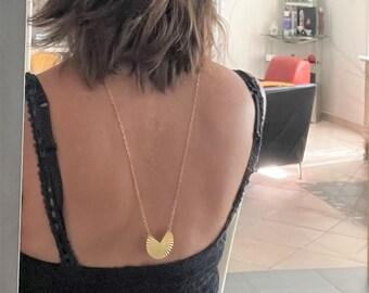Necklace back gold pendant art deco, necklace necklace back bare gold pendant round, jewelry wedding