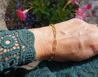 Gold chain bracelet big links, chain trombone big links, stainless steel jewel