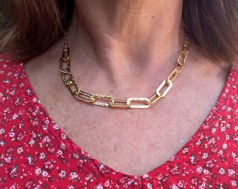 Gold necklace chain large hammered links, chain mesh trombone, flush with the neck gold, jewel gold 24 carats