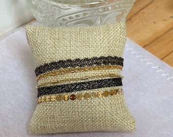 gold and black cuff bracelet, ribbon bracelet and layered chains, bridesmaid jewelry