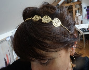 Golden headband, wedding head jewel, headband jewel, gold prints headband, leaves, golden hairstyle accessory, bridesmaid