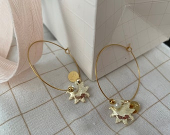 Large golden creoles sun and pearls, creoles gold stamps for the summer, earrings for wedding