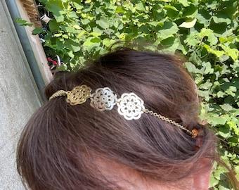 Golden headband, wedding head jewel, headband jewel, headband prints gold flowers, golden hairstyle accessory, bridesmaid