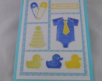 Congratulations baby card card, card new baby boy welcome card, baby