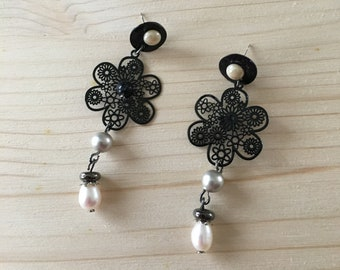 fancy black and white mother of pearl earrings pierced