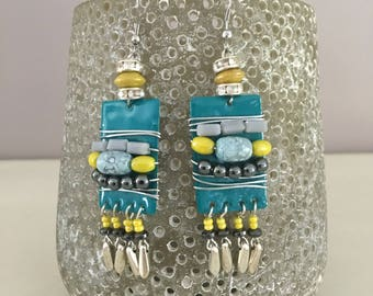 fancy turquoise, yellow, gray earrings