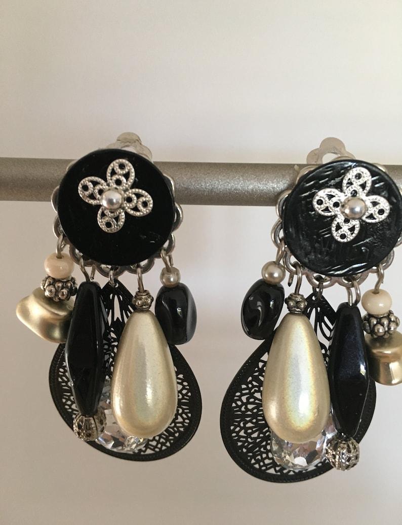 fancy black and silver clip earrings