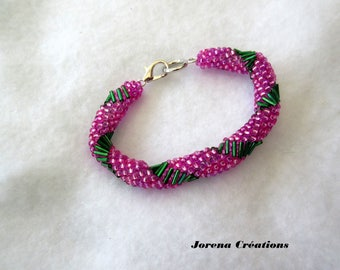 Seed beads woven pink and green Bangle Bracelet