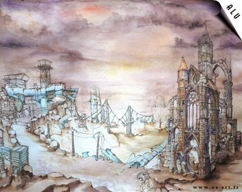 Post apocalyptic, architectural and surreal - fantastic watercolor REPRODUCTION aluminum
