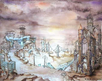 Post apocalyptic, architectural and surreal fantasy watercolor