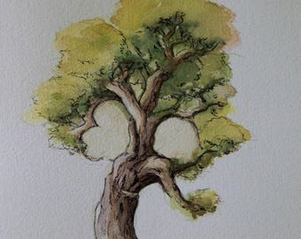 A universe... inspired by a love tree watercolor painting