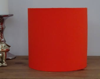 Handmade Bright Orange Fabric Lampshade