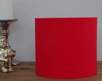 Handmade Bright Red Fabric Lampshade