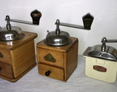 3 Mill of coffee of the German firm Beha. Lilliput. Mr. Bernhard. Antique Coffee Grinder. Old Coffee Mill