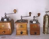 4 Coffee Mill German firm Dienes PeDe models n º 613, 435, 300 and 461. Antique Coffee Grinder. Old Coffee Mill
