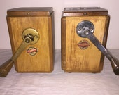 2 Cafe Mill from German firm Leinbrocks Jdeal model no. 1200 and 1220. Antique Coffee Grinder. Old Coffee Mill
