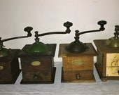4 Coffee Mill of the French firm Peugeot Freres, various sizes and model decore. Antique Coffee Grinder. Old Coffee Mill