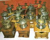 11 Mill of coffee of the firms Leinbrocks Jdeal, KYM (Kissing Möllmann) and Peter Dienes (PeDe). Antique Coffee Grinder. Old Coffee Mill