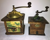 2 Coffee mill of French firm JAPY FRERES Cie. S.G.D.G. antique coffee grinder.