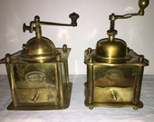 2 Brass Coffee Mill. From Austria, Royal and SLU. Antique Coffee Grinder. Kaffeemühle. Moulin a cafe