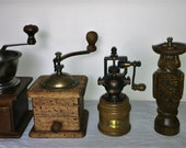 2 Coffee Mill, 2 pepper mill and 1 salt shaker, Italian style. Antique Coffee Grinder. Old Coffee Mill