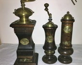 Coffee mill, pepper and salt shaker, Italian firm Acciaio Temperato. Antique Coffee Grinder. Old Coffee Mill