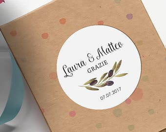 Chiudibusta wedding, personalized stickers, adhesive labels for Confetti, wedding stickers