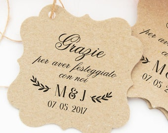 Wedding labels, Kraft labels for Confetti and wedding favors, personalized tags, rustic labels