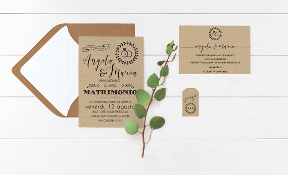 Partecipazioni Matrimonio Stile Country.Partecipazioni Matrimonio In Carta Kraft Partecipazioni Stile Etsy