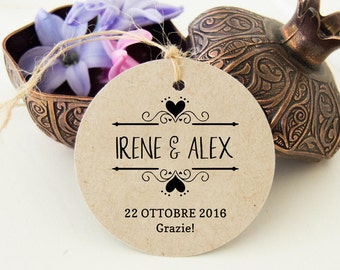 Labels Thank you, wedding Tags, custom labels, cards favors, Kraft labels
