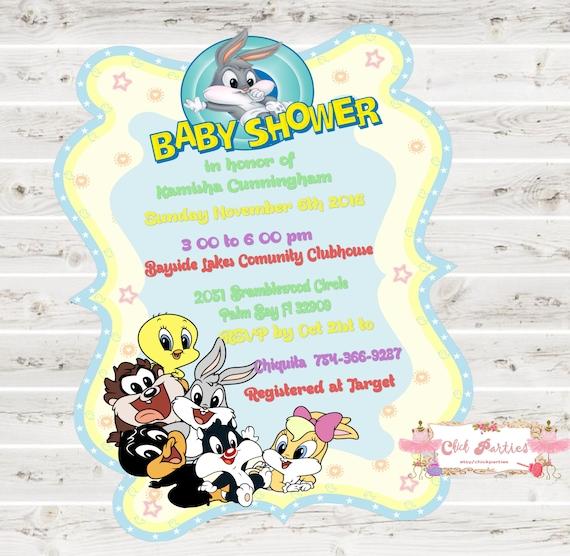 Looney Tunes Baby Shower Invitation Etsy