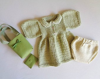 Clothing and accessories for baby 30 cm, soft body: hand knitted dress and panties, bag and coin holder