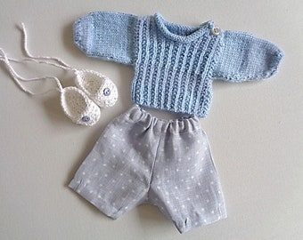 Clothes for doll 30 cm, Bermuda shorts, sweater and sneakers