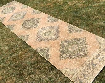 Persian long runner rug,vintage rug runner,Handknotted runner rug,large oushak rug,bohemian furniture,faded persian rug.12'3×3 ft