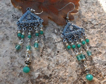 Blue Green Native American style earrings