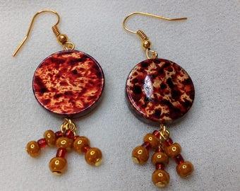 Earrings disc gold and Burgundy