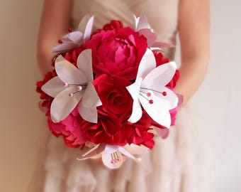 """Bridal bouquet """"Glamour"""" composed of Red peonies, Roses and lilies white pearls and paper Roses"""