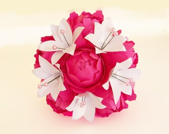 "Bouquet ""Glamour"" bridesmaid Lily White Peony Roses Pink Ribbon"