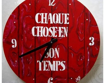 Red and white wooden clock customizable
