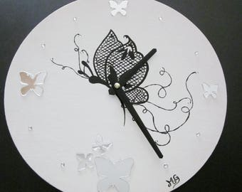 Wooden Butterfly clock black and white modern