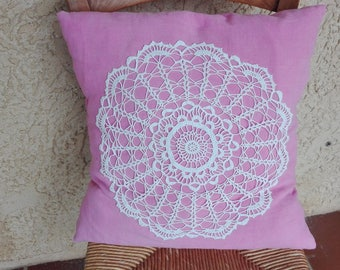 Old linen with vintage doily pillow