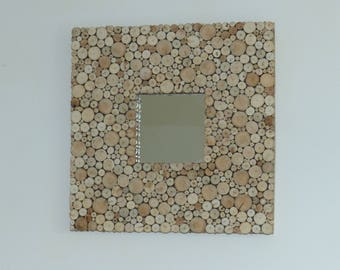 Mirror square wooden 30 cm x 30 cm, pieces of driftwood