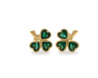 Gold Earrings, Celtic Clover Earrings Emerald Earrings, 14k Gold Earrings, Women Earrings, Gemstone Earrings