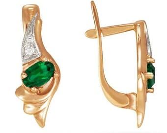Gold Earrings, Emerald Earrings, 14k Gold Earrings, Women Earrings, Gemstone Earrings, Cubic Zirconia